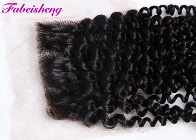 Human Free Part Lace Closure Peruvian Curly Hair Bundles 100% Unprocessed