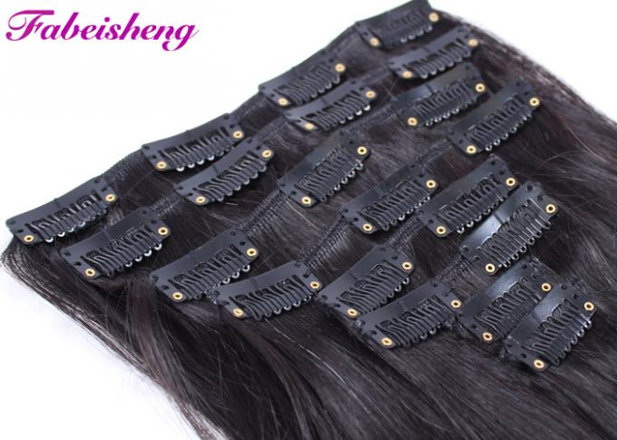 Double Drawn Human Clip In Hair Extensions For Short Hair Full Cuticles