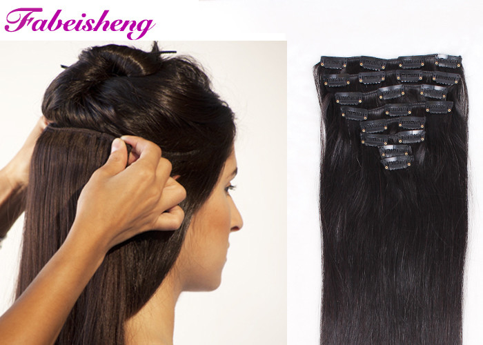Smooth Indian Full Head Human Hair Clip In Extensions No Tangle No Shedding