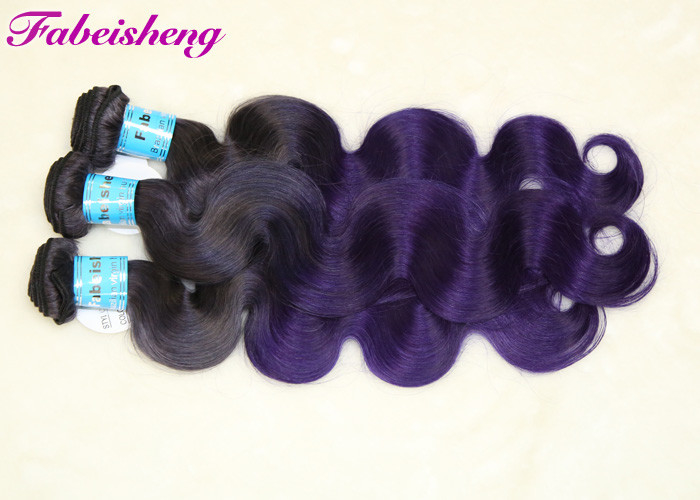 Double Drawn Multi Colored Hair Extensions , Ombre Colored Brazilian Hair