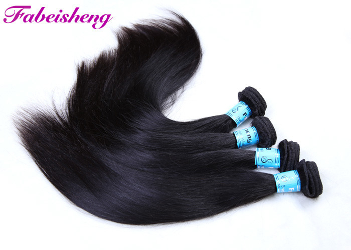 Black Silky Virgin Human Hair Extensions / Peruvian Straight Hair Bundles