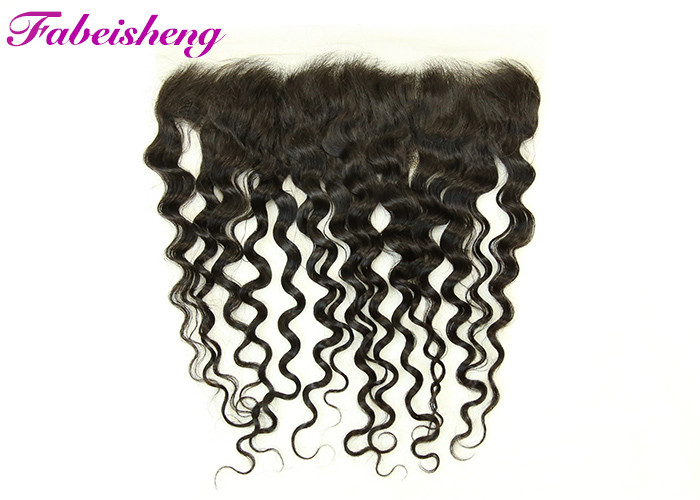 Swiss Transparent Deep Wave 13x4 Lace Frontal With Natural Hair Line