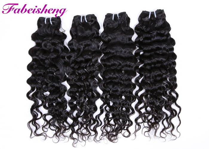#1 / #1B Color Virgin Brazilian Hair Bundles / Italian Wave Hair Weave