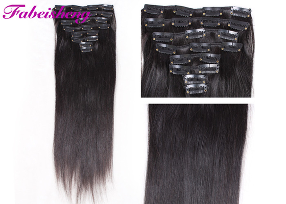 Trung Quốc Soft Straight One Piece Black Clip In Hair Extensions With Cuticle Intact nhà máy sản xuất