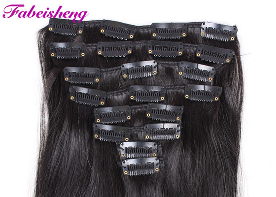 Trung Quốc Durable Brazilian Human Clip In Hair Extensions Double Weft Silky Straight nhà máy sản xuất